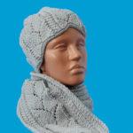 Сива плетена шапка и шал