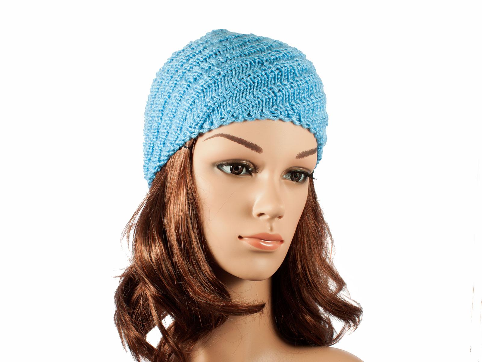 Hand-made blue Spiral hat